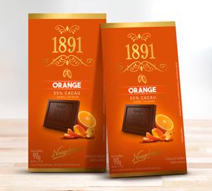 Linha premium mais cacau na massa e cristais de laranja.